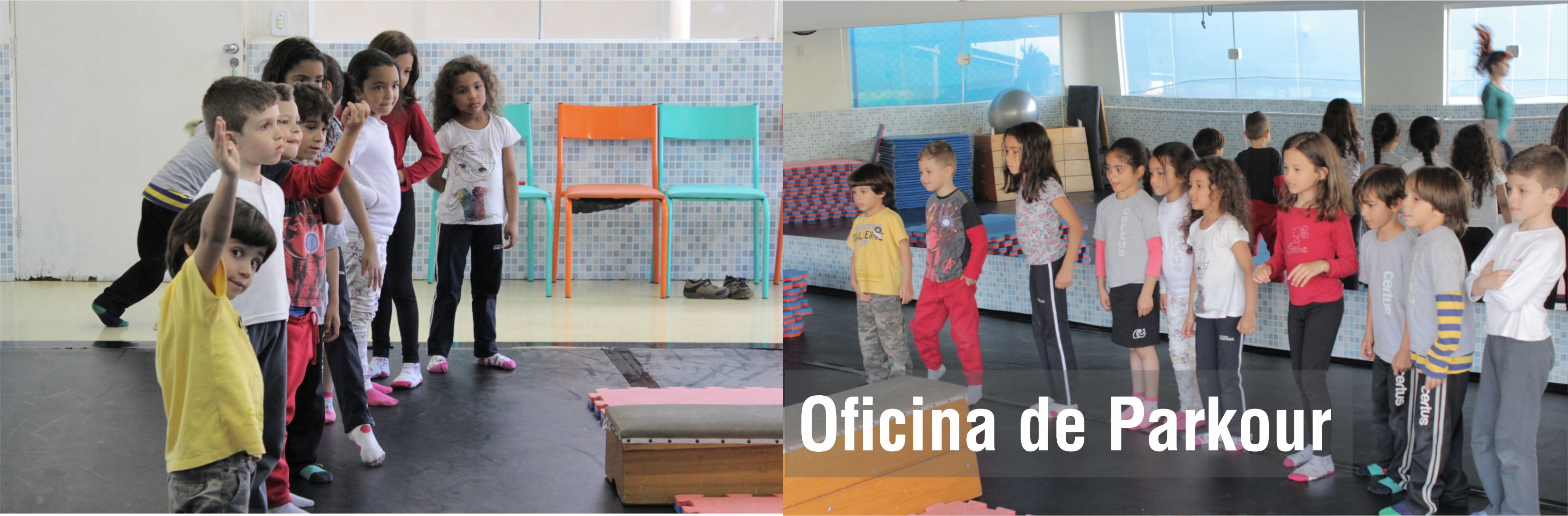 Férias do Integral de julho do Certus para educação infantil e fundamental tem semanas temáticas cores meio ambiente e e tecnologia - Oficina Parkour