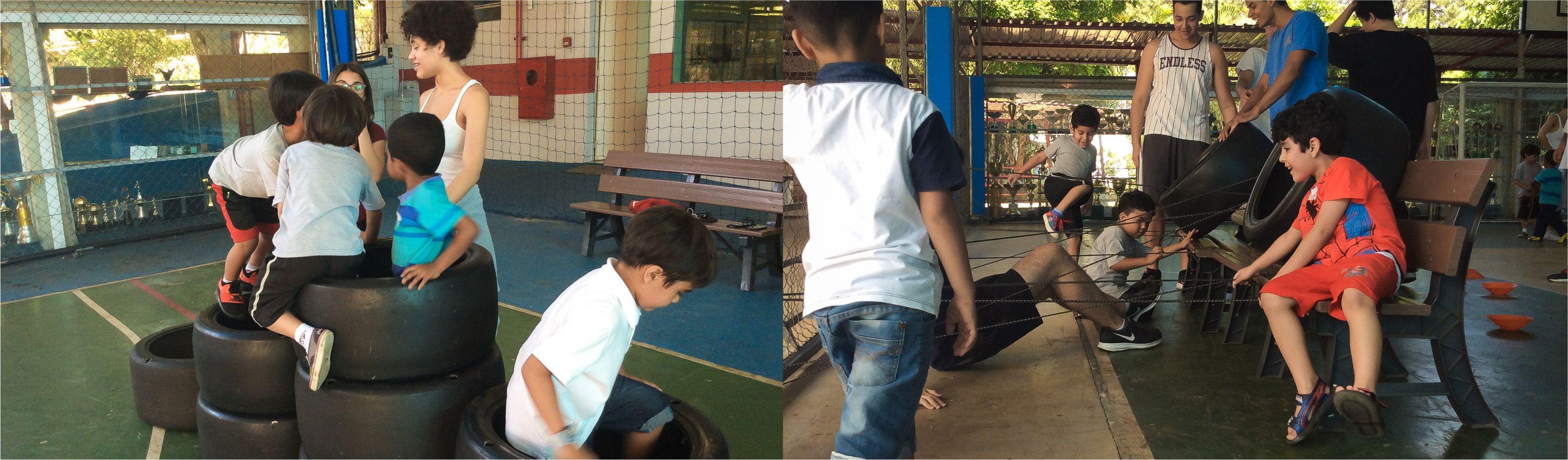 Alunos do Médio e Educação Infantil do Certus vivenciam juntos brincando o dia das crianças em ação de integração da aula de educação física dos esportes