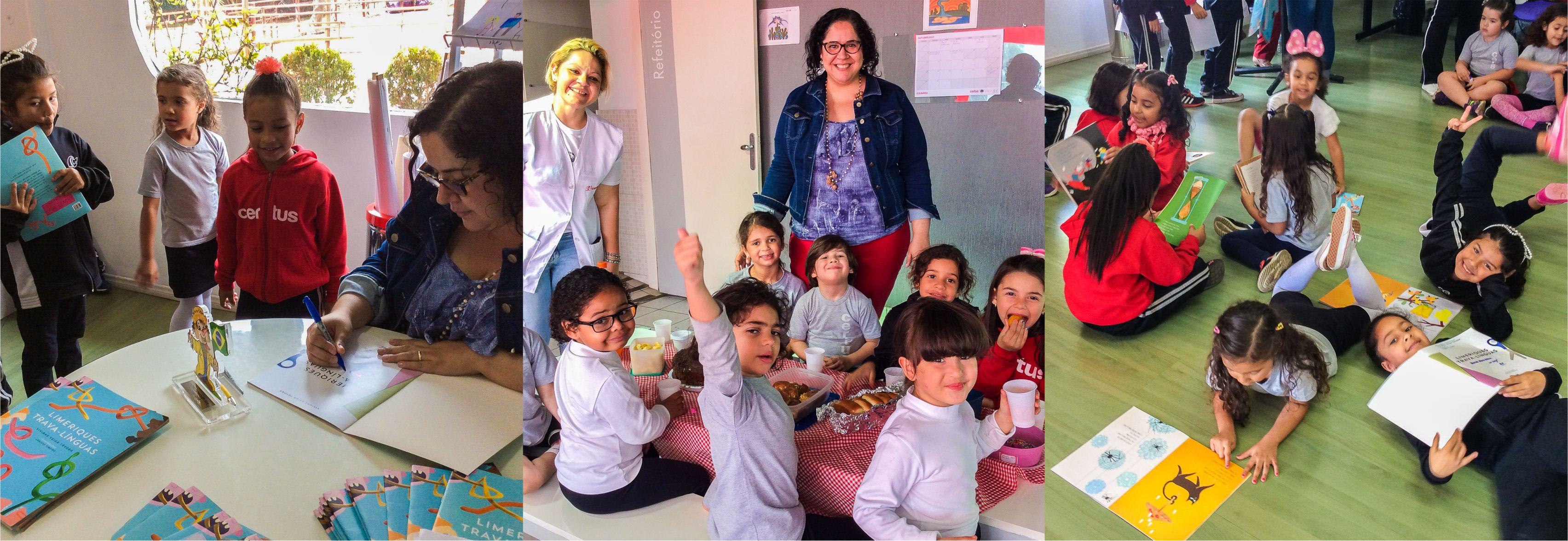 Autora Viviane Veiga Távora do livro Limeriques trava-línguas visita alunos do Pré e fazem uma tarde de piquenique com autógrafos em ação do Balaio de leitura da educação infantil do Certus