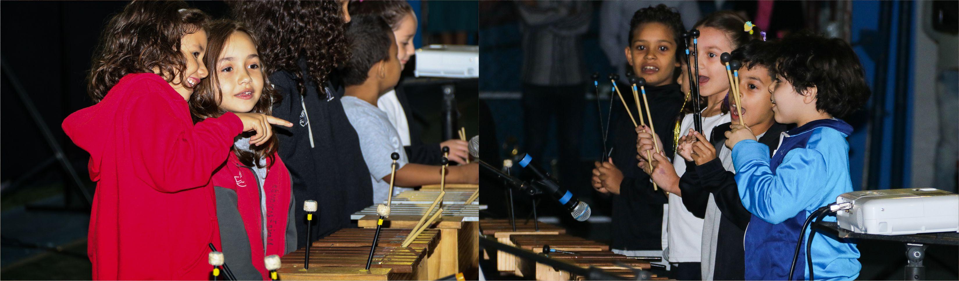 Sétima Mostra de Música do Fundamental do Certus faz apresentação de brincadeira musical com a evolução do instrumental orff de percussão e participação de convidados